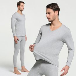 $enCountryForm.capitalKeyWord Australia - 2018 Winter 100% Cotton Round Neck Warm Long Johns Set For Men Ultra-Soft Solid Color Thin Thermal Underwear Men's Pajamas M-3XL