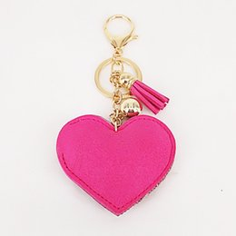anchor handbags Australia - New Lovely 6Colors Double Hearts Keychain Tassel Pendants Fashion Gifts Key Chains Personalized Handbag Decorative Supplies