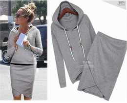 Wholesale gray skirt suits women resale online - New Women Sweat Suit Pure Color Europe and America Long Sleeve Hooded Top Irregular Tight Skirt Casual Two Pieces Sweater suit
