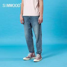 ankle loose jeans Canada - SIMWOOD 2020 summer new laser wash loose tapered jeans men classical ankle-length casual denim trousers plus size cotton pants