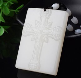 $enCountryForm.capitalKeyWord Australia - Fine Jewelry Natural White Hand-carved Chinese Hetian Jade The cross Pendant + Rope Necklace Free Shipping