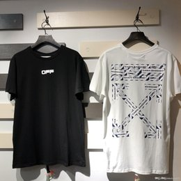 crossed neck shirt men Australia - OFF Europe and the United States OW white airport warning line slogan tape arrow round neck short sleeve T-shirt men and women