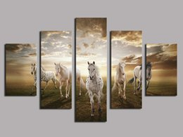 Large Oil Prints Canvas Australia - Running Horse Large,5 Pieces Canvas Prints Wall Art Oil Painting Home Decor (Unframed Framed)