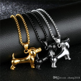Necklaces Pendants Australia - Doggy Pendant Necklaces For Men Creative Dachshund Stainless Steel 3 Colors Box Lain Chain Male Jewelry Gift gjGX1284