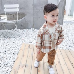 $enCountryForm.capitalKeyWord Australia - Infant kids outfits baby boys cartoon printed T-shirt+lapel long sleeve lattice blazers outwear+double pocket casual pants 3pcs sets F9256