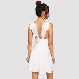 Hot Sexy White Dresses Australia - New Arrival Sexy Dress for Women Party Club Wing Embroidery Black White Red V Neck Summer Hot Office Lady Good Quality Dresses