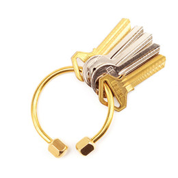 male gold rings 2019 - RE Handmade Simple Brass Keychain Nordic Gold Outdoor key ring Male and female Car Key Chain Storage Accessories D0435 c