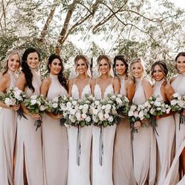 $enCountryForm.capitalKeyWord Australia - Cheap Long Bridesmaid Dresses Halter Chiffon with Split Sheath Wedding Guest Dresses Formal Party Custom Made