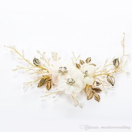 gold hair beads Australia - Flower Bride Hair Vine Pearl Wedding Tiaras Headband Crystal Bridesmaid Headdress Beads Bridal Headpiece Hair Comb For Women Jewelry