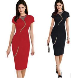$enCountryForm.capitalKeyWord Australia - New fashion sexy women's dress round collar short sleeve temperament mesh spell receive Fanny pack buttock dress wrap buttock dress