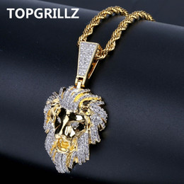 $enCountryForm.capitalKeyWord Australia - Topgrillz Hip Hop Gold Color Plated Iced Out Micro Pave Cubic Zircon Lion Head Pendant Necklace Charm For Men Jewelry Gifts Y19061703