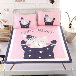 cooling sheets UK - Summer Cool Cartoon Mat Bed Cover Sleeping Mattress Protector Mattress Three-piece Simple Viscose Fiber Mat Fitted Sheet Set T200703
