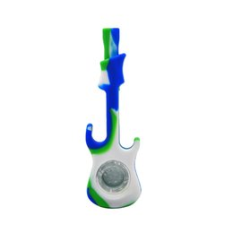 Dhl Free Guitar UK - Free DHL Silicone Smoking Pipes Guitar Styles Oil Burner Dab Pipes Tobacco with Glass Bowl Multicolor Silicon Pipe AC024