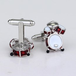 $enCountryForm.capitalKeyWord Australia - Fashion Jewelry Cocoes Musical Instruments Drum Cufflinks For Mens Red Cute Drum Kit Shirt Cufflink Drummer Gifts