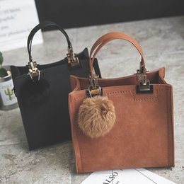 $enCountryForm.capitalKeyWord Australia - New Hot Sale Handbag Women Casual Tote Bag Female Large Shoulder Messenger Bags High Quality Suede Leather Handbag With Fur Ball Y190620
