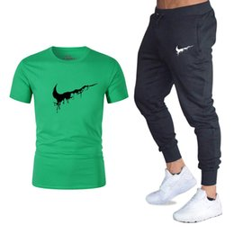 $enCountryForm.capitalKeyWord NZ - Summer Hot Sale Men's Sets T Shirts+pants Two Pieces Sets Casual Tracksuit Male 2019 Casual Tshirt Gyms Fitness trousers men