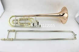 gold trombone 2019 - Free Shipping MARGEWATE Tenor Trombone Professional Brass Instrument Superior B Tone F# Horn Phosphorus & Copper With Ca