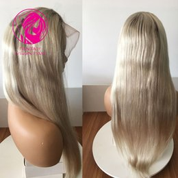 Full brazilian ponytail lace wigs online shopping - Fantasy Ash Blonde Ombre Human Hair Full Lace Wig Small Cap Size Straight Wigs Brazilian Remy Hair Ponytail Bun Density