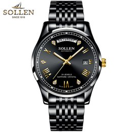 Top Wrist Watches Australia - SOLLEN Business Mens Watch Top Brand Luxury Stainless Steel Diamond Luminous Best Mechanical Watch Automatic Male Wrist Homme