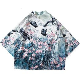 Chinese Floral Paintings Australia - Shirts 2019 Harajuku Kimono Jacket Japanese Hip Hop Men Streetwear Jacket Crane Floral Print Chinese Paint Summer Thin Gown Japan Style