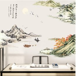 Chinese Water Painting Australia - Chinese Style Mountains Water Boat Painting Wall Stickers Home Decor Extra Large Living Room Bedroom Background Wall Decals Art