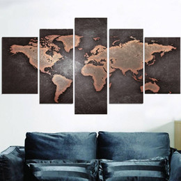 canvas wall art world map NZ - 5pcs set Unframed Vintage World Map Abstract painting Wall Art Oil Painting On Canvas Textured Paintings Picture