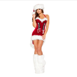 Wholesale sexy cosplay for sale for sale – halloween Christmas New Year Costume For Women Red Sexy Dress Adult Female Fancy Cosplay Dresses Boot Hat Hot Sale