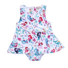 7a90c7bc9c32 Baby Girl Jumpsuit Kids Rompers Mermaid Print Cartoon Character Princess  Jumpsuit White Short Sleeve Ordinary Thickness Polyester Fabric 11