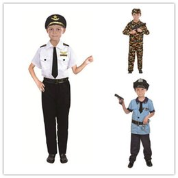 Discount police cosplay - 2019 Kids Halloween Fire Costume Children Day Costume Police Attorney Pilot Doctor Worker Pilot Performance Boy Girl Cos