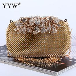 Discount crystal clutch hard bag - Gold Sliver Clutch Women Box Bag Jewelry Diamonds Crystal Clutch Bags For Female 2019 Designer Small Metal Chain Crossbo