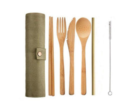 Chinese  7pcs set Wooden Dinnerware Set Bamboo Teaspoon Fork Soup Knife Catering Cutlery Set with Cloth Bag Kitchen Cooking Tools Utensil manufacturers