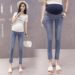 $enCountryForm.capitalKeyWord Australia - Skinny Thin Maternity Elastic Waist Belly Jeans Pants Clothes for Pregnant Women Pregnancy Denim Pencil Trousers Maternity jeans