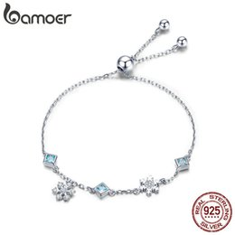 Silver Celtic Bracelets Australia - Bamoer New Collection 925 Sterling Silver Winter Snowflake Women Bracelets Chain Link Bracelet Sterling Silver Jewelry Bsb001 Y19051101