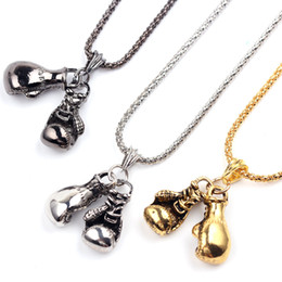 Workout Box Australia - Hot new Cool Sport New Men Necklace Fitness Fashion Stainless Steel Workout Jewelry Gold Plated Pair Boxing Glove Charm Pendants WCW251