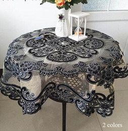 Discount red black white decor - Luxury glitter Black square Tablecloth embroidery lace kitchen coffee Table Cover cloth Christmas New Year Wedding decor
