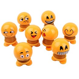 Used Toys Wholesale Australia - Smile Emoji Toys Shaking Head Car USE Decoration Decompression Toys Spring QQ expression Ornament Car-mounted Shaking Head Doll Emotion Pack