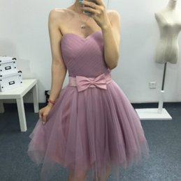 $enCountryForm.capitalKeyWord Australia - 2019 New Bridesmaid Dresses Tea-Length Blush Pink Tulle Pleats Bow Junior Maid of Honor Country Beach Wedding Party Guest Gowns