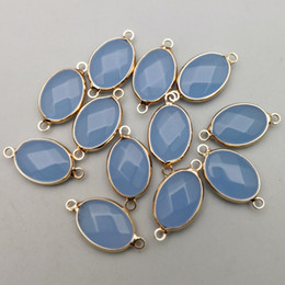 Color Stone Charms Australia - Wholesale Fashion natural oval Stone Connector charms blue color Gold rim for Bracelet Necklace jewelry Connector 12pcs lot