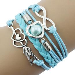 $enCountryForm.capitalKeyWord Australia - Stylish Jewelry Women bracelet for hair tie Infinity Love Heart Pearl Friendship Antique Leather Charm Bracelet Collar Gothic