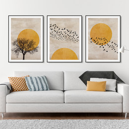 orange abstract canvas art NZ - Sun Silhouette Scandinavian Design Burnt Orange Canvas Painting Wall Art Posters and Prints Picture for Living Room Home Decor