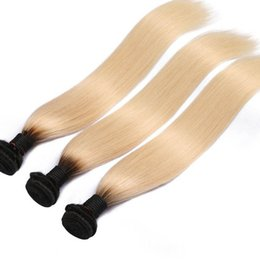 Blond human hair online shopping - 1B Ombre Color Inch Remy Hair Brazilian Straight Hair Bundles Human Hair Blond Bundles