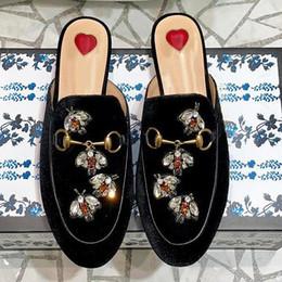 $enCountryForm.capitalKeyWord Australia - 2019 spring and summer new European and American metal buckle rhinestone suede ladies semiskid women's shoes low heel slippers flat qo