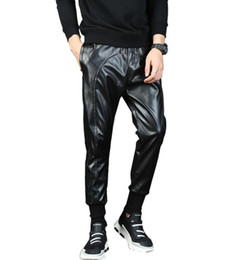 Motorcycle Hair UK - New 2019 Men's clothing Hair Stylist fashion Hip hop Motorcycle locomotive Splicing leather harem pants plus size costumes