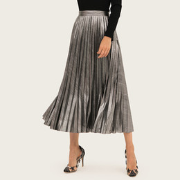 Wholesale Women Clothing Fashion Spring Summer Designer Pleated Skirt Gold Silver Skirts Elastic Waist Long Dresses Pleated Skirts High Waist Dresses