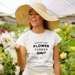 lovers gift flower NZ - Support Your Flower Farmer Style1 Printed New Arrival Graphic Women's Summer Funny T-Shirt Mama Bear Shirts Nature Lover Gift