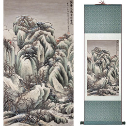 Chinese Floral Paintings Australia - Mountain And River Painting Home Office Decoration Chinese Scroll Painting Landscape Art Painting 1906101616