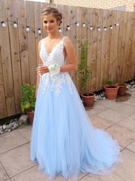 sexy teens pictures NZ - A Line Long Tulle Prom Dresses for Teens V Neckline Lace Embellished Bodice Custom Made CMPD5