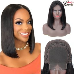Toptan satış 4x4 Düz Bob Dantel Ön İnsan Saç Peruk Brezilyalı Kısa Düz Bob% 100 İnsan Bakire saç Dantel Frontal peruk peruk