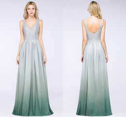 grey sexy bridesmaid dresses 2019 - Designer Grey Sequined Long Prom Dresses 2019 Cheap A Line V Neck Sexy Low Back Formal Party Evening Dress CPS1241 cheap