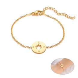 compass charm wholesale UK - Compass Charm Chain Bracelets for Women Gold Tone Stainless Steel Jewelry